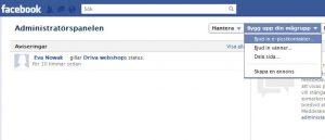 administartörspanel po fanpage sida på Facebook