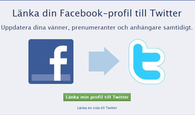 länka Facebook sida till Twitter